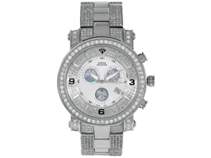 Aqua Master Men's Diamond Power Watch with One Row Diamond Bezel and 4-Link Outer Diamond Bracelet, 9.10 ctw