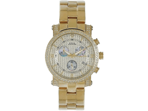Aqua Master Men's Round Diamond-Cut Watch with Two Row Diamond Bezel, 2.25 ctw