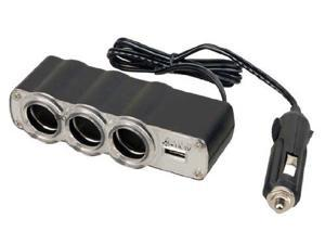 Pyle PL12V3US Plug In Car 1 TO 3 Cigarette Lighter Multiplier with USB Charger