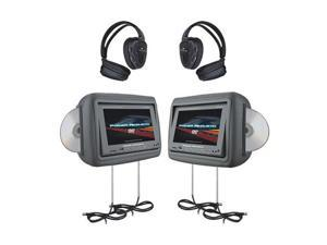 Power Acoustik HDVD-9GRDK 8.8-Inch Pre-Loaded Universal Headrest Monitors with Twin DVD Combo and Headphones (Dark Gray)