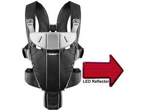 Baby Bjorn 096065US Miracle Baby Carrier with LED Safety Reflector Light - Black Silver  Cotton Mix