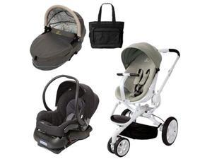 Quinny CV078BFV Moodd Stroller Travel System and Dreami Bassinet in Natural Delight with Diaper Bag