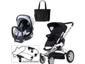 Quinny Rocking Black Buzz 4 Travel System w Britax Black Silver Car Seat   Bag