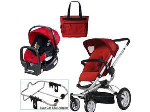 Quinny Rebel Red Buzz 4 Travel System w Britax Red Car Seat   Diaper Bag