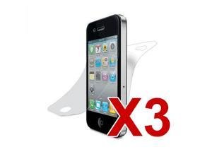3-Pack Clear Full LCD Front & Back Screen Protector for Apple iPhone 4