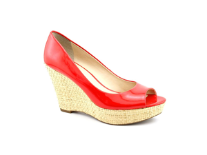 Franco Sarto Surf Womens Size 8.5 Red Peep Toe Wedges Heels Shoes