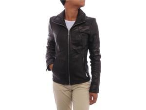 Kenneth Cole NY Women Collared Genuine Leather Zipper Jacket Jet