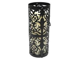 "Gerson 33523 - 8"" Black Metal Lantern Melted Edge LED Resin Candle Light with Timer"