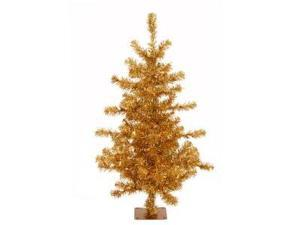 "Vickerman 10587 - 4.5' x 34"" Gold Tinsel Slim 200 Gold Lights Christmas Tree (A868546)"