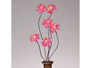 "Gerson 37896 - 31"" Pink Acrylic Chrysanthemum Battery Operated LED Lighted Branch with Timer (6 Warm White Lights)"