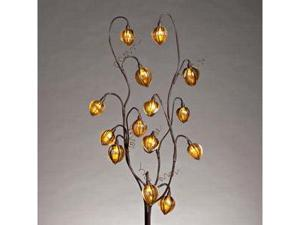 "Gerson 38617 - 39"" Brown Acrylic Chinese Lantern Battery Operated LED Lighted Branch with Timer (14 Warm White Lights)"