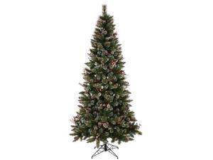 "Vickerman 426159 - 4.5' x 28"" Snow Tipped Pine and Berry Tree with 150 Multi Color Lights Christmas Tree (B166247)"