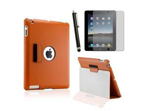 Slim Fit Dual Layer Black Leather Smart Function Leather Case for iPad 3/iPad2 w/ Screen Protector and Stylus Pen
