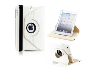 White 360 Degree Rotating PU Leather Case Cover with Swivel Stand for iPad Mini and iPad Mini with Retina Display