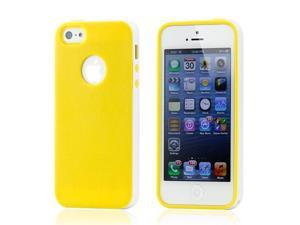 Yellow & White Slim Hybird PC Rugged TPU Back Case Cover Frame Cover for iPhone 5