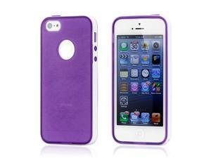 Purple & White Slim HyBrid PC Rugged TPU Back Case Cover Frame Cover for iPhone 5 5S