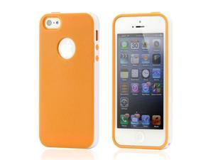 Orange & White Slim Hybird PC Rugged TPU Back Case Cover Frame Cover for iPhone 5