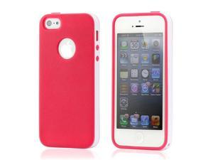 Hot Pink & White Slim Hybird PC Rugged TPU Back Case Cover Frame Cover for iPhone 5