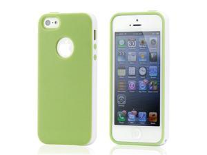 Green & White Slim Hybird PC Rugged TPU Back Case Cover Frame Cover for iPhone 5