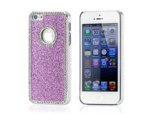 Purple Luxury Bling Glitter Chrome Crystal Rhinestones Hard Back Case for iPhone 5 5S