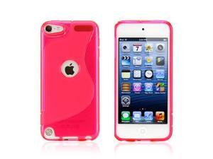 Hot Pink 2 tone Transparent S Shape TPU Gel Soft Back Cover Case Skin for Apple iPod Touch 5
