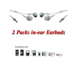 2pc White In-Ear Earbud with IPHONE, IPOD, MP3, and portable music players - OEM