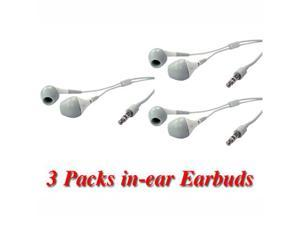 3pc White In-Ear Earbud with IPHONE, IPOD, MP3, and portable music players - OEM
