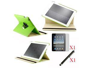 360 Degree Rotating Green Leather case with smart Cover function for iPad 2, The New iPad 3 and iPad 4 with retina desplay ...