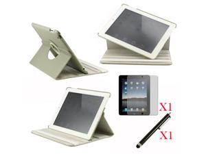 360 Degree Rotating Gray Leather case with smart Cover function for iPad 2, The New iPad 3 and iPad 4 with retina desplay ...