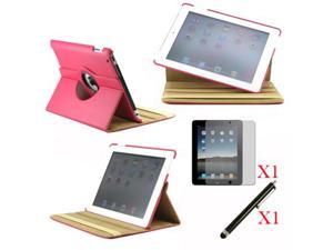 360 Degree Rotating Hot Pink Leather case with smart Cover function for iPad 2, The New iPad 3 and iPad 4 with retina desplay ...