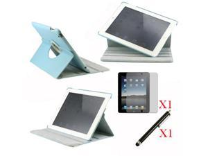 360 Degree Rotating Light Blue Leather case with smart Cover function for iPad 2, The New iPad 3 and iPad 4 with retina desplay ...