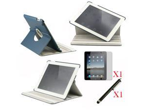 360 Degree Rotating Dark Blue Leather case with smart Cover function for iPad 2, The New iPad 3 and iPad 4 with retina desplay ...