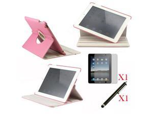 360 Degree Rotating Pink Leather case with smart Cover function for iPad 2, The New iPad 3 and iPad 4 with retina desplay ...
