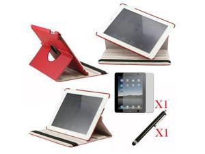 360 Degree Rotating Red Leather case with smart Cover function for iPad 2, The New iPad 3 and iPad 4 with retina desplay ...