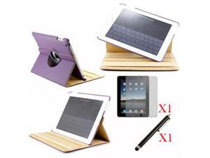360 Degree Rotating Purple Leather case with smart Cover function for iPad 2, The New iPad 3 and iPad 4 with retina desplay ...