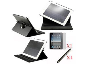 360 Degree Rotating Black Leather case with smart Cover function for iPad 2, The New iPad 3 and iPad 4 with retina desplay ...