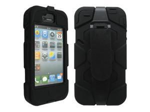 Black Three Layer Silicone PC Hard Case Cover Shell with Belt Clip for iPhone 4 4G 4S