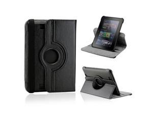 "Black 360 Degree Rotating Leather Case Cover with Swivel Stand for 7"" Amazon Kindle Fire HD"