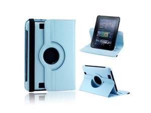 "Light Blue 360 Degree Rotating Leather Case Cover with Swivel Stand for 7"" Amazon Kindle Fire HD"