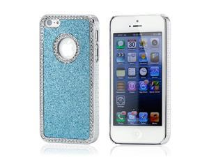 Light Blue Luxury Bling Glitter Chrome Crystal Rhinestones Hard Back Case for iPhone 5 5S