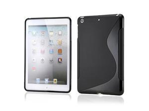 Black S Shape TPU Gel Soft Back Cover Case Skin for Apple iPad Mini and iPad Mini with Retina Display