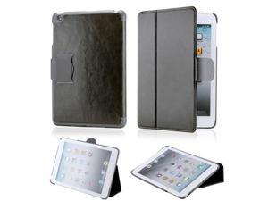 Premium Dark Gray Glossy Microfiber Leather Slim Hard PC Case Cover with Belt Closure for iPad Mini