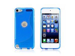 Blue 2 tone Transparent S Shape TPU Gel Soft Back Cover Case Skin for Apple iPod Touch 5