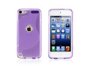 Purple 2 tone Transparent S Shape TPU Gel Soft Back Cover Case Skin for Apple iPod Touch 5