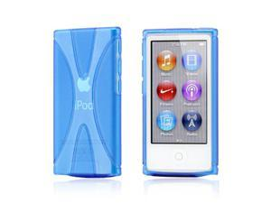Blue 2 tone Transparent X Shape TPU Gel Skin Back Cover Case for Apple iPod Nano 7
