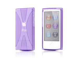 Purple 2 tone Transparent X Shape TPU Gel Skin Back Cover Case for Apple iPod Nano 7