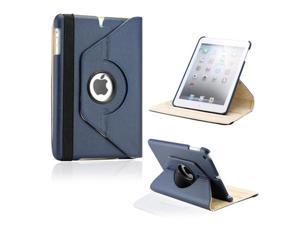 Dark Blue 360 Degree Rotating PU Leather Case Cover with Swivel Stand for iPad Mini and iPad Mini with Retina Display