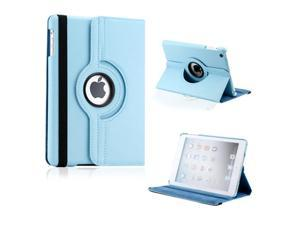 iPad Mini and 2013 iPad Mini with Retina Display 360 Degree Rotating Light Blue PU Leather Cover Case with Swivel Stand