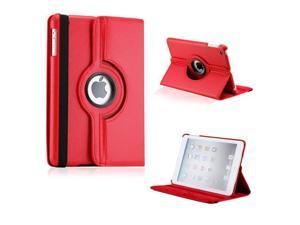 iPad Mini and 2013 iPad Mini with Retina Display 360 Degree Rotating Red PU Leather Cover Case with Swivel Stand - OEM
