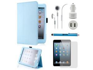 5 in 1 Accessories Bundle Light Blue Case Travel Business Combo for iPad Mini and iPad Mini with Retina Display